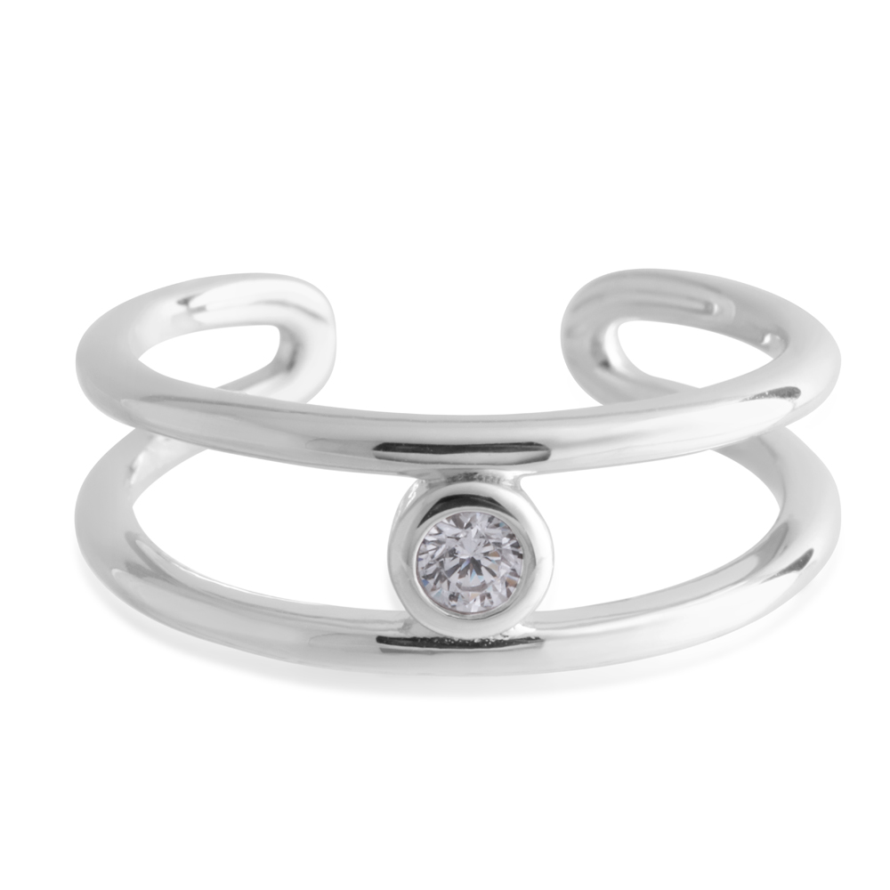 Sterling Silver Toe Ring Solitaire Zirconia
