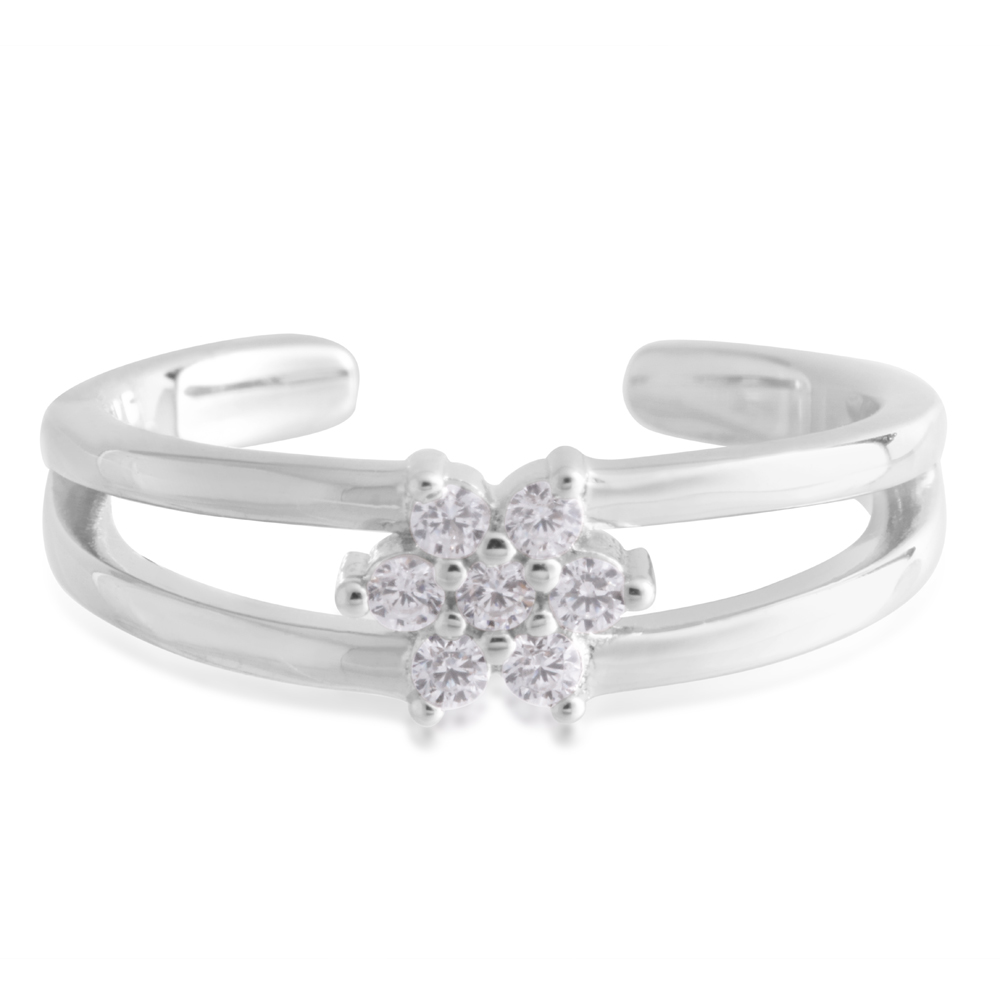 Sterling Silver Toe Ring Zirconia Flower
