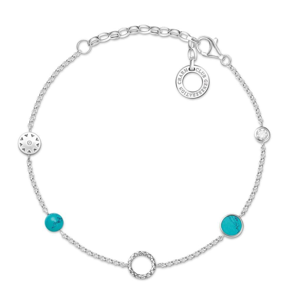 Sterling Silver Thomas Sabo Charm Club Turquoise Bracelet 15-19cm