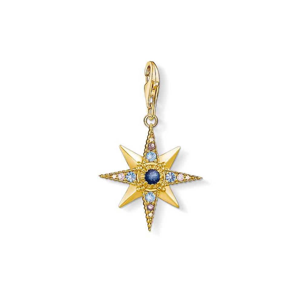 Gold Plated Sterling Silver Thomas Sabo Charm Club Zirconia Star