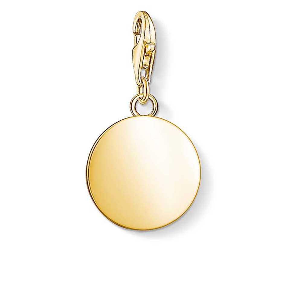 Gold Plated Sterling Silver Thomas Sabo Charm Club Engravable Disc Small