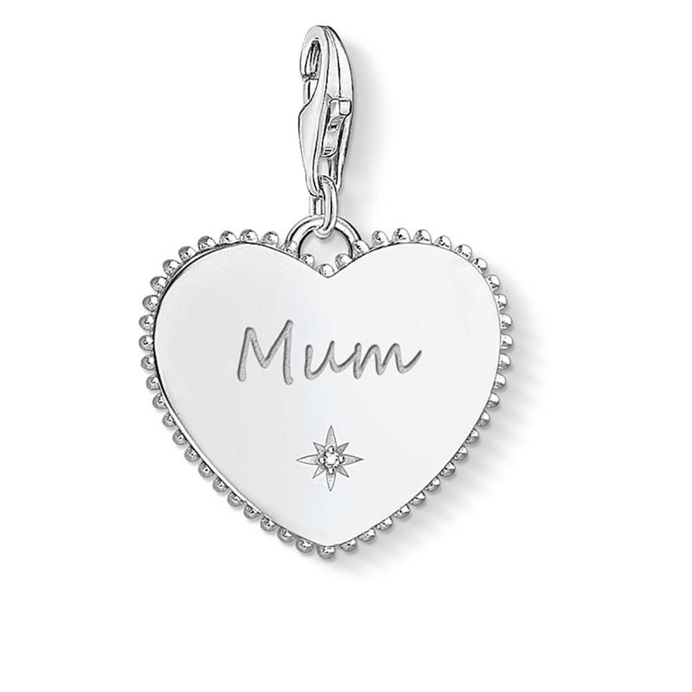 Sterling Silver Thomas Sabo Charm Club Engravable Mum Heart