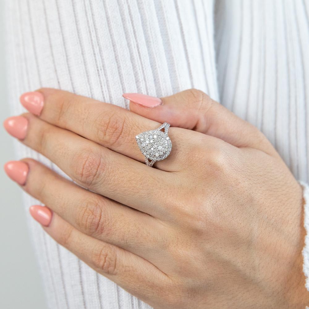 Silver 1 Carat Cluster Dress Ring with 72 Brilliant Diamonds