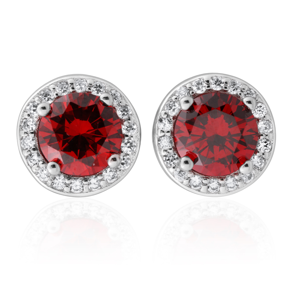 Sterling Silver Simulated Ruby and Zirconia Stud Earrings