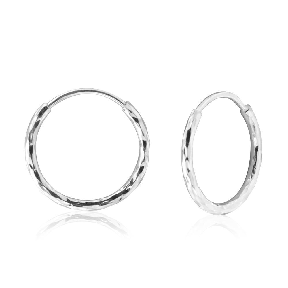 Sterling Silver 15mm Twist Hoop Sleeper Earrings