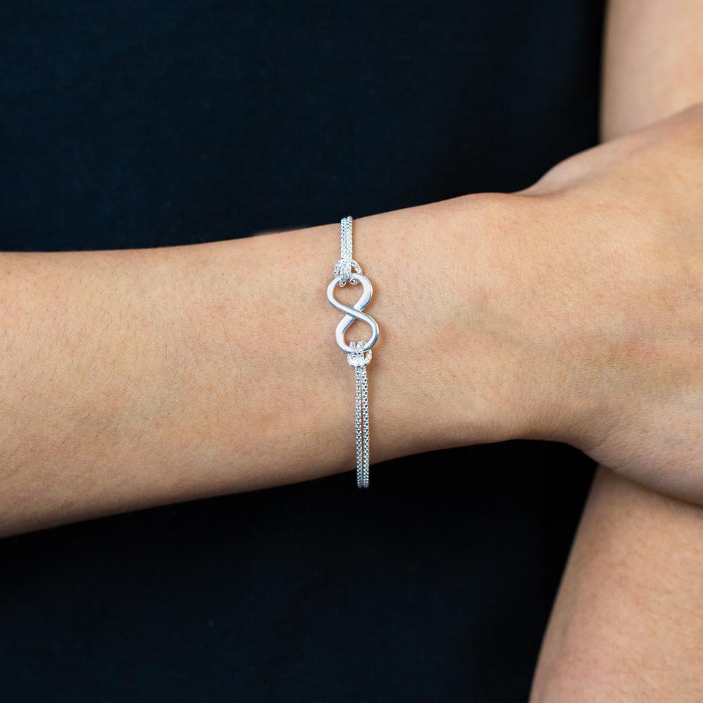 Sterling Silver 19cm Double Strand Infinity Bracelet