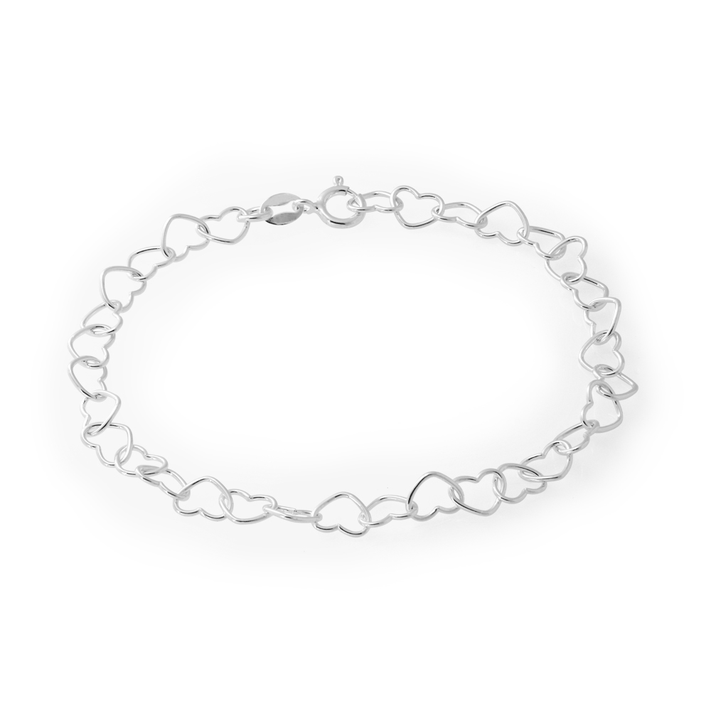 Sterling Silver Multi Heart Intertwined Bracelet