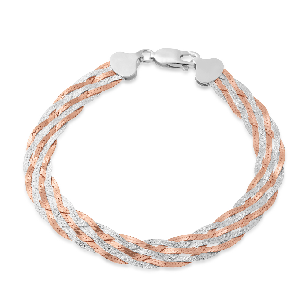 Sterling Silver and Rose Plated 19cm Multi Strand Plait Bracelet