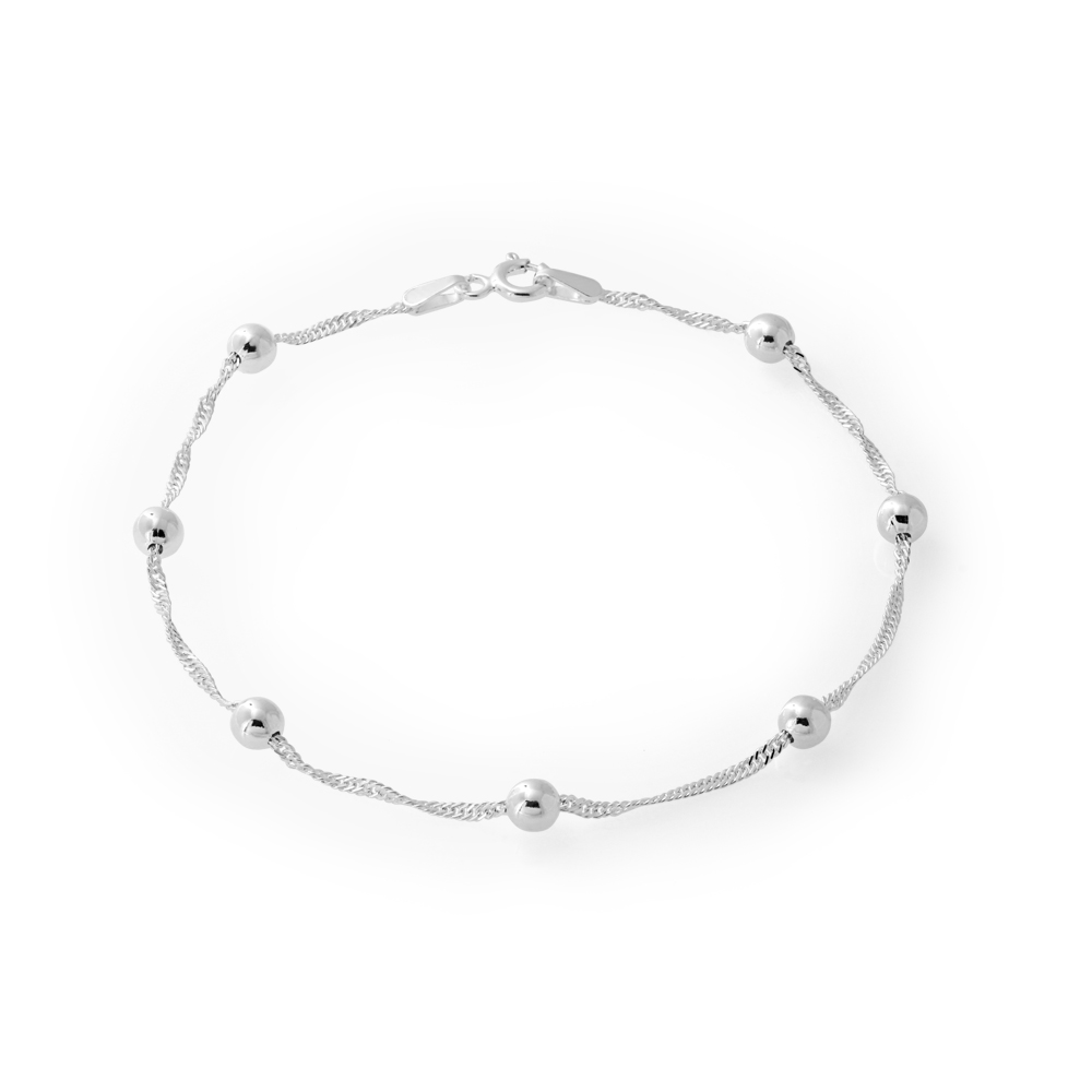 Sterling Silver 19cm Singapore Link and Multi Ball Bracelet