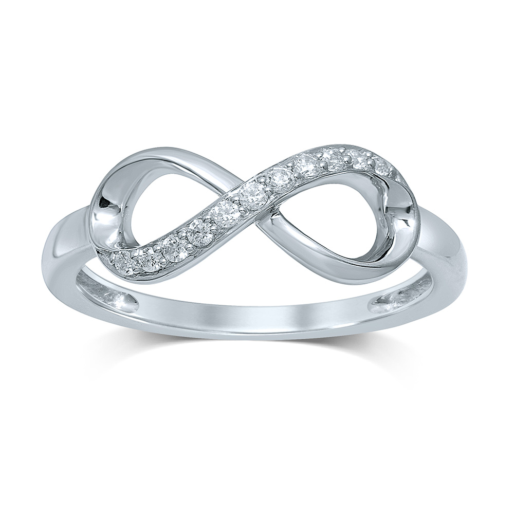 Luminesce Lab Grown Sterling Silver 0.10 Carat Diamond Infinity Ring