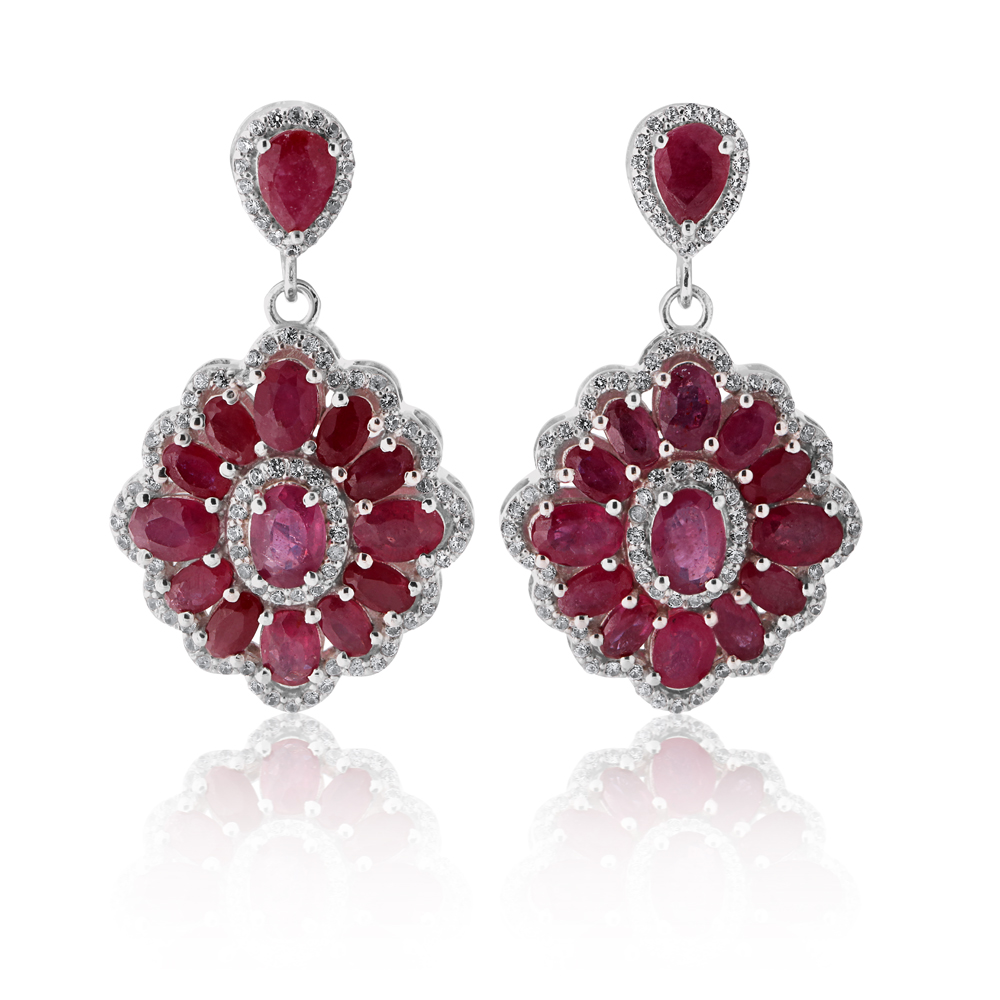 Sterling Silver Natural Enhanced Ruby and Zircon Drop Earrings