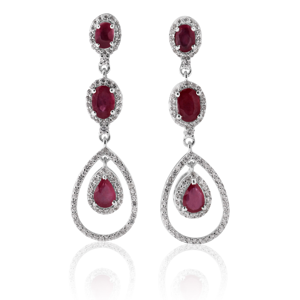 Sterling Silver Natural Enhanced Ruby and White Zircon Drop Earrings