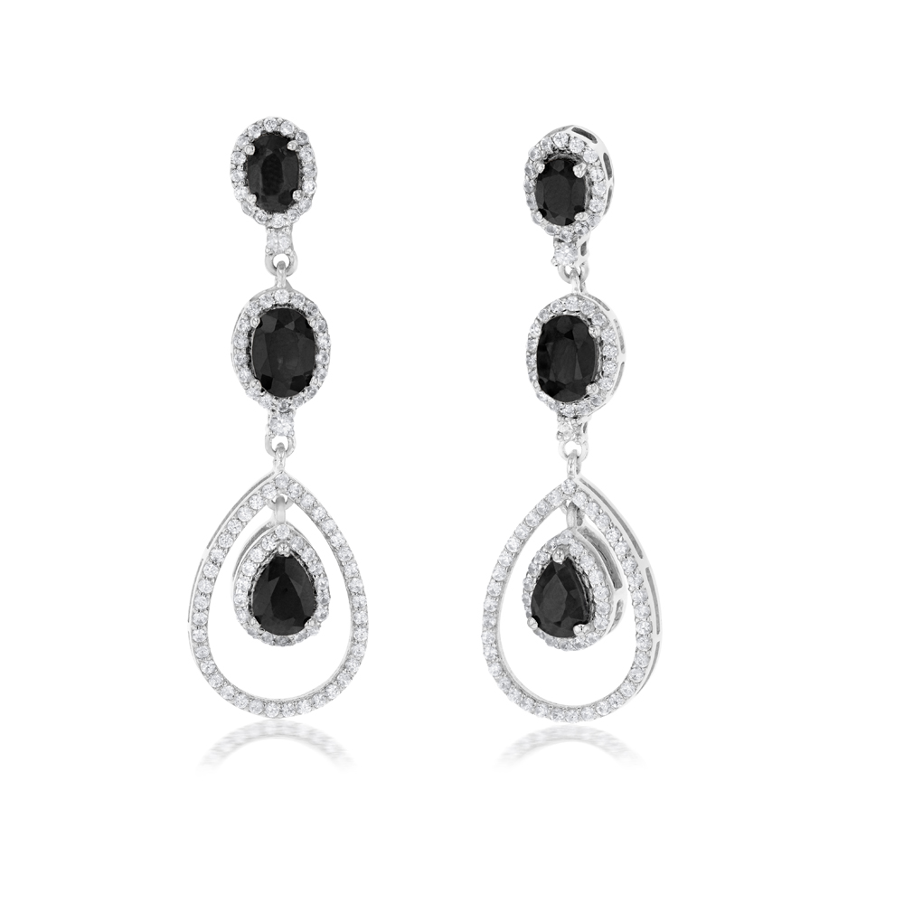 Sterling Silver Natural Enhanced Sapphire and White Zircon Drop Earrings