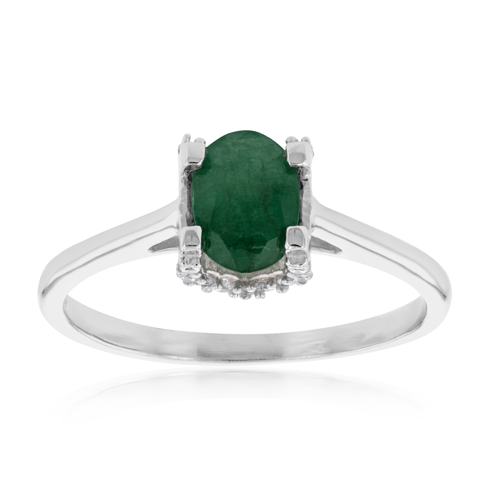 Sterling Silver Natural Enhanced Oval Emerald and White Zircon Ring