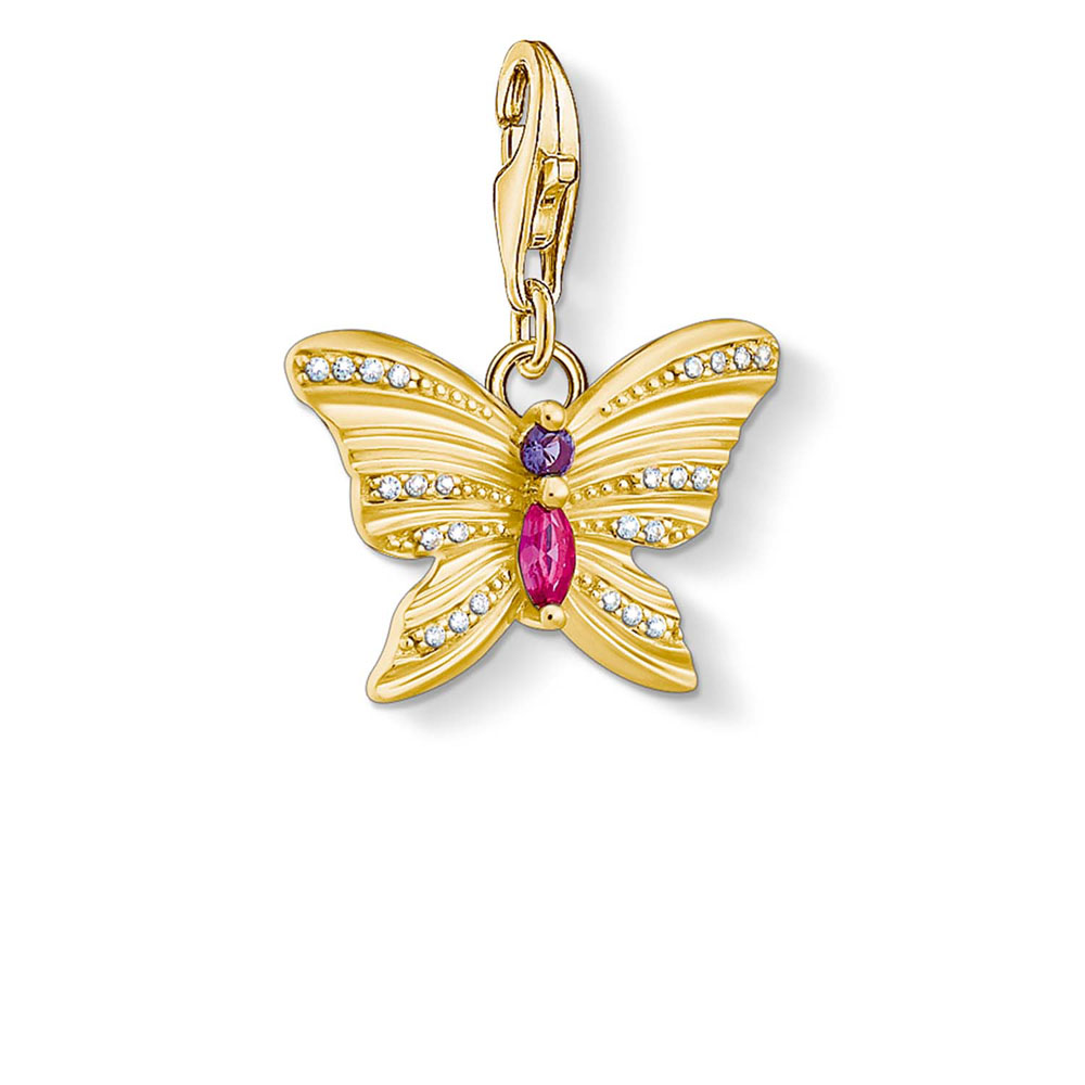 Gold Plated Sterling Silver Charm Club Butterfly