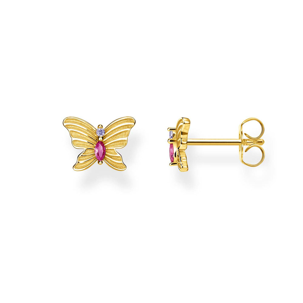 Gold Plated Sterling Silver Thomas Sabo Magic Garden Butterfly Studs
