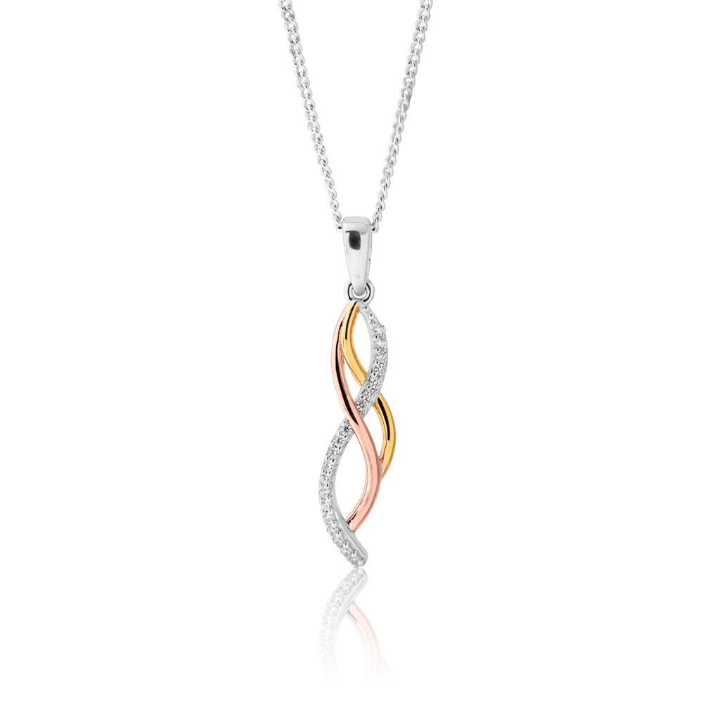 Sterling Silver Rose and Gold Plated Zirconia Weave Drop Pendant