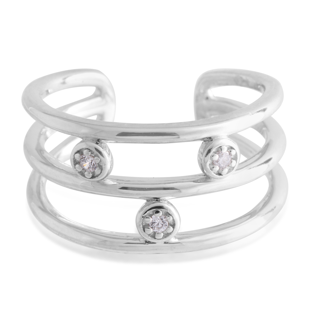 Sterling Silver Toe Ring Zirconia 3 Band