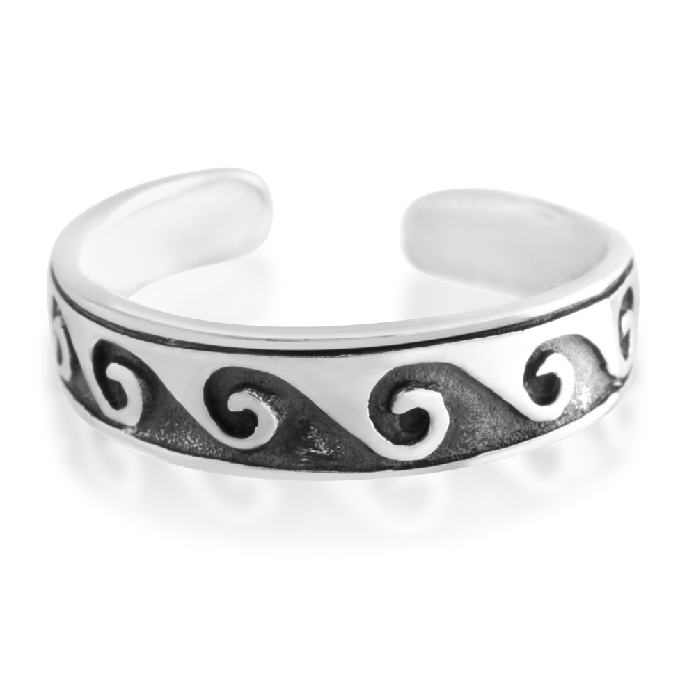 *No Exchange or Refund* Sterling Silver Toe Ring Waves Oxidised