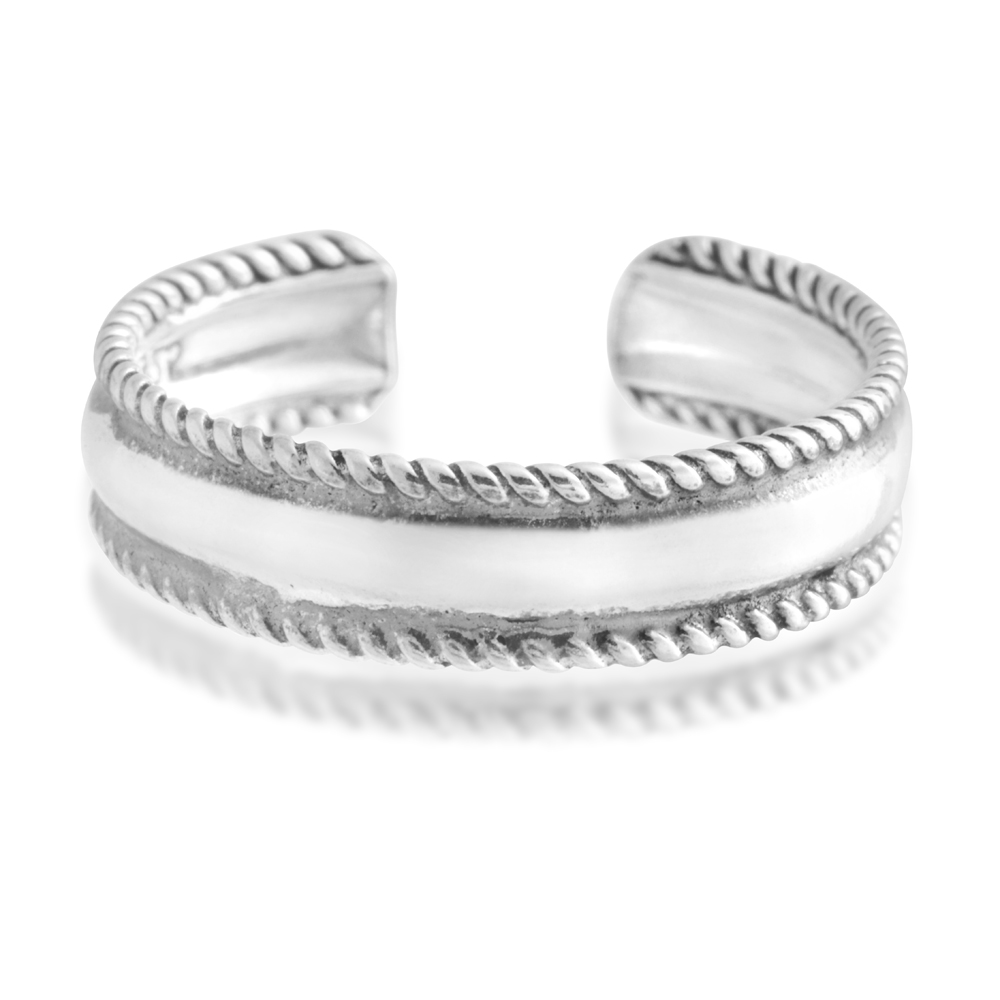 Sterling Silver Toe Ring Millgrain Oxidised