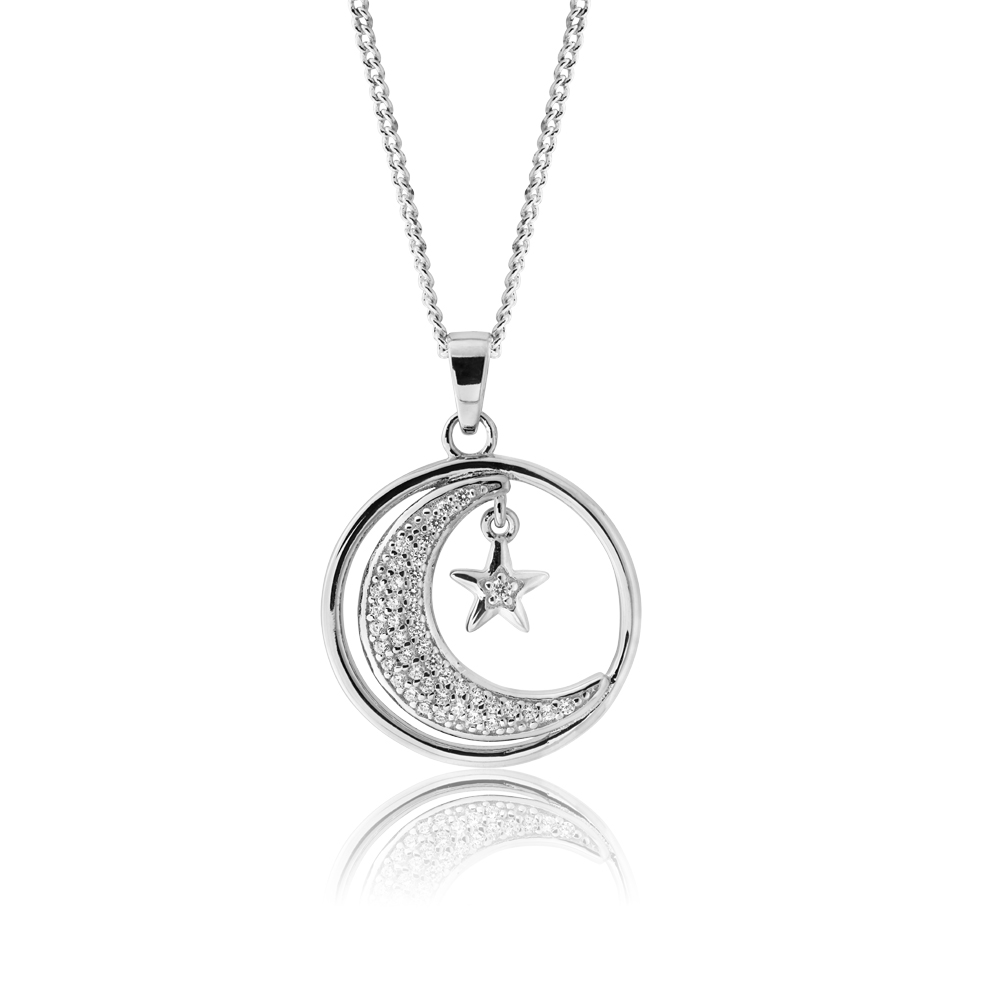 Sterling Silver Crescent Moon and Star Pendant