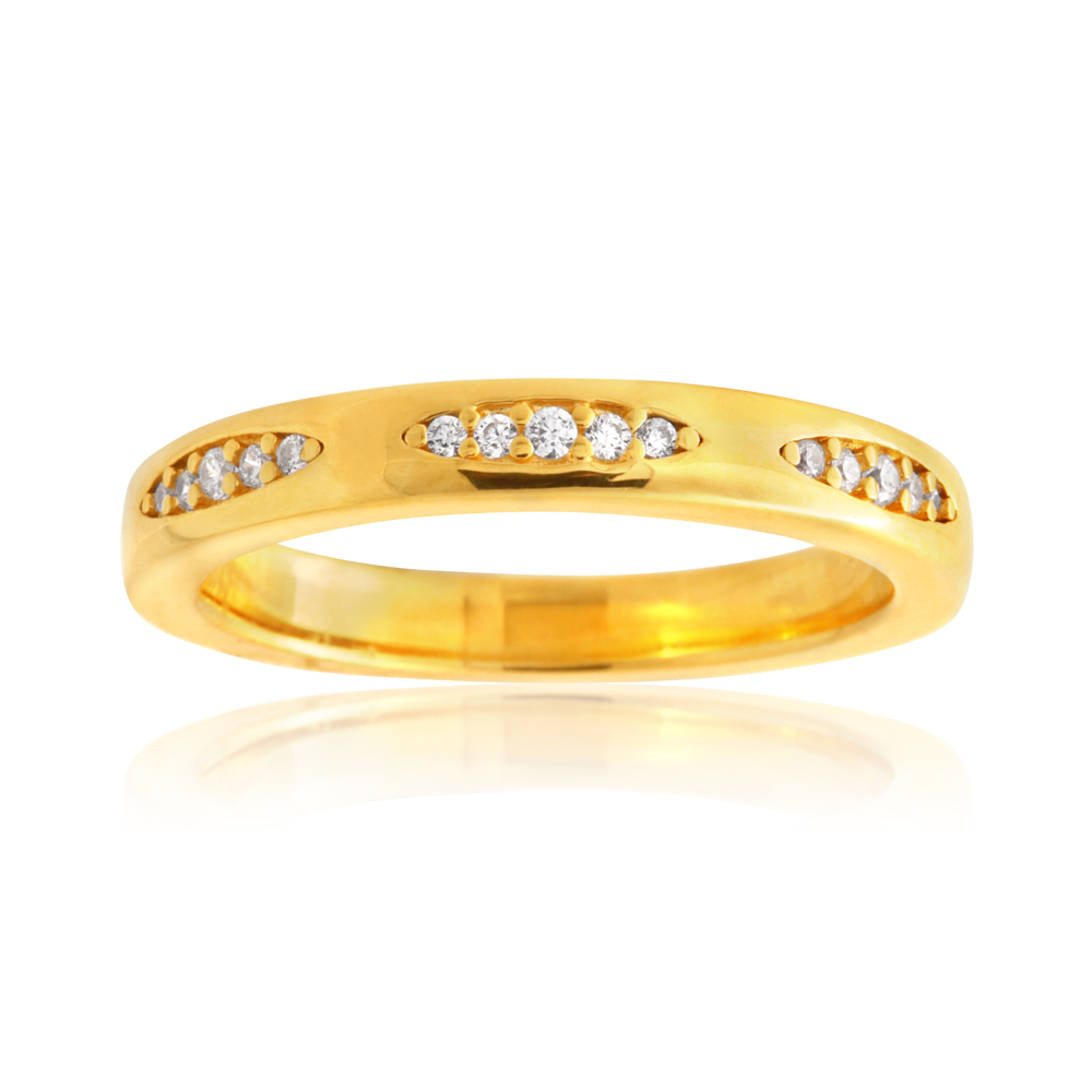 Sterling Silver Gold Plated Zirconia Fancy Claw Set Band