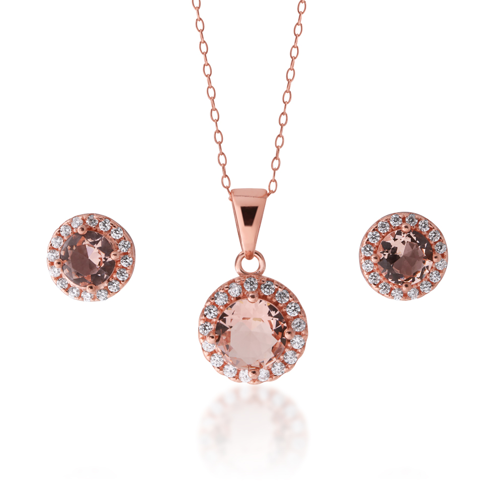 Sterling Silver Rose Plated Crystal and Zirconia Halo Stud and Pendant Set on Chain