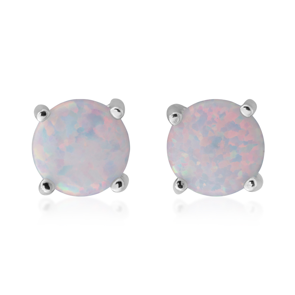 Sterling Silver 6mm Simulated 4 Claw Opal Stud Earrings