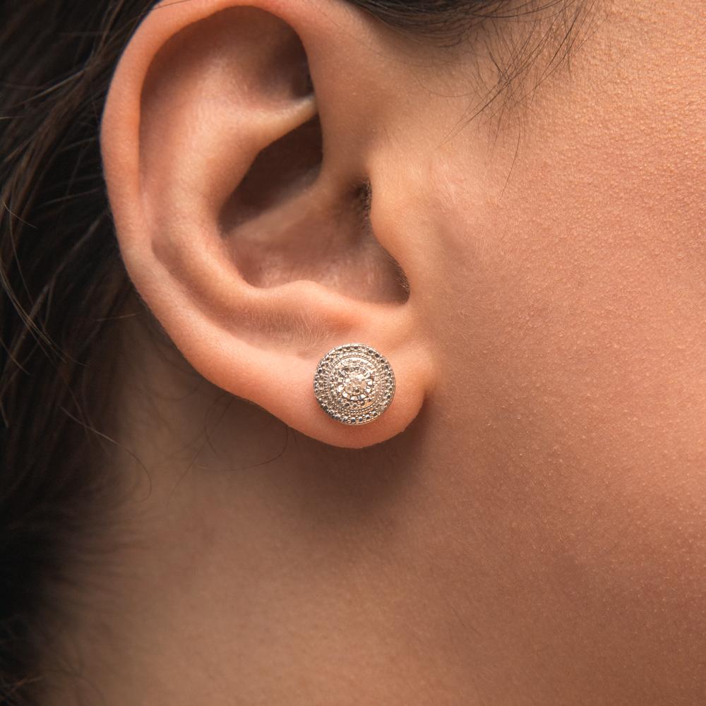 Sterling Silver Diamond Stud Earring Set with 14 Brilliant Diamonds
