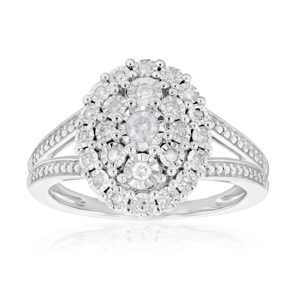 Sterling Silver 1/5 Carat Diamond Oval Cluster Ring with 27 Brilliant Diamonds