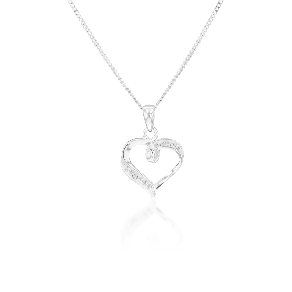 Sterling Silver Zirconia Fancy Heart Pendant