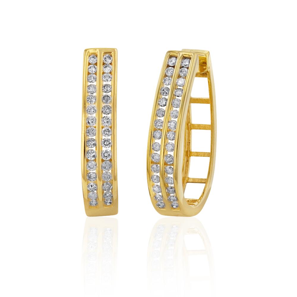 Gold Plated Sterling Silver 1 Carat Diamond Hoop Earrings