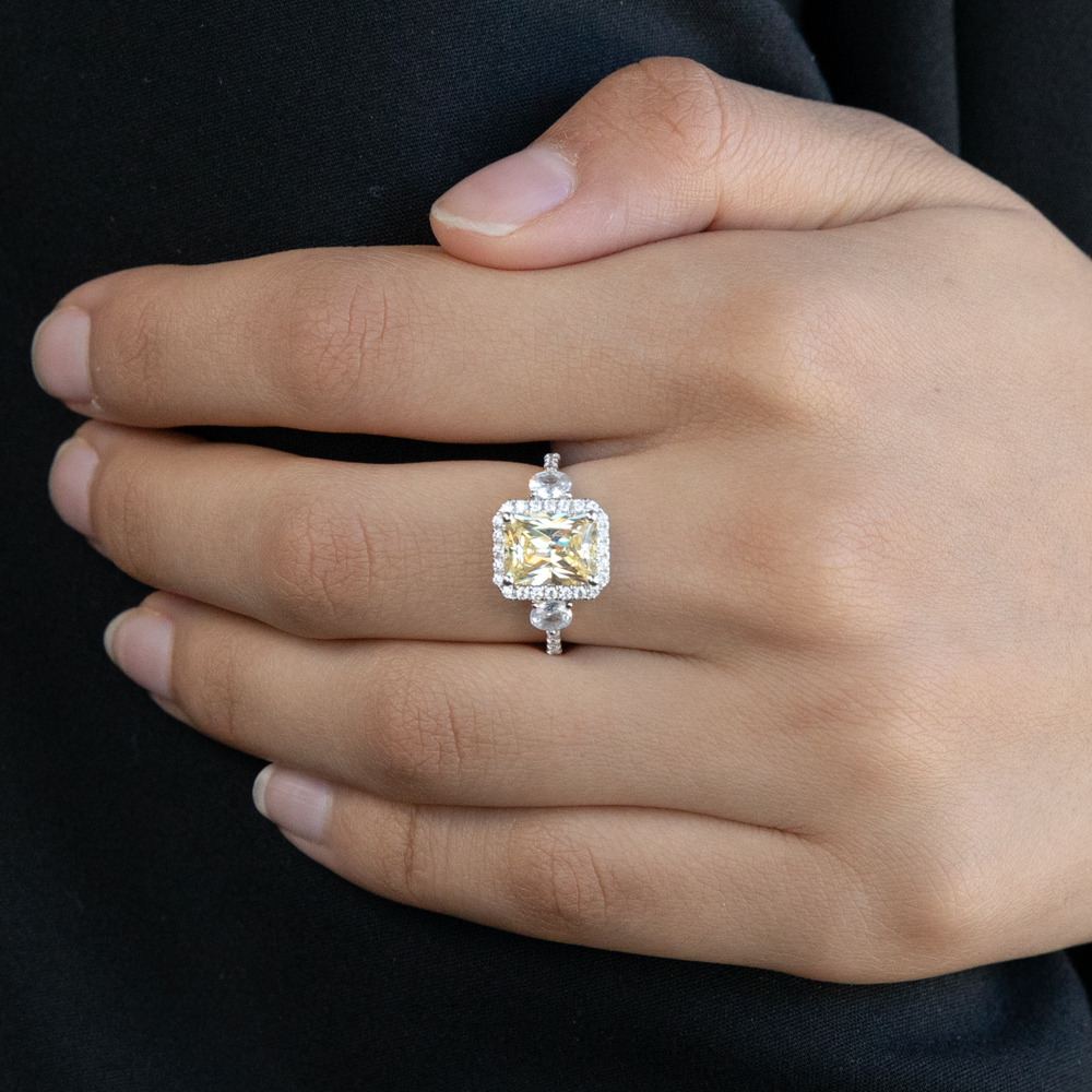 Sterling Silver Yellow And White Zirconia Emerald Cut Ring