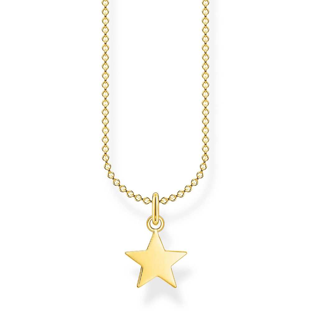 Sterling Silver Gold Plated Thomas Sabo Charm Club Star Necklace 38-45cm