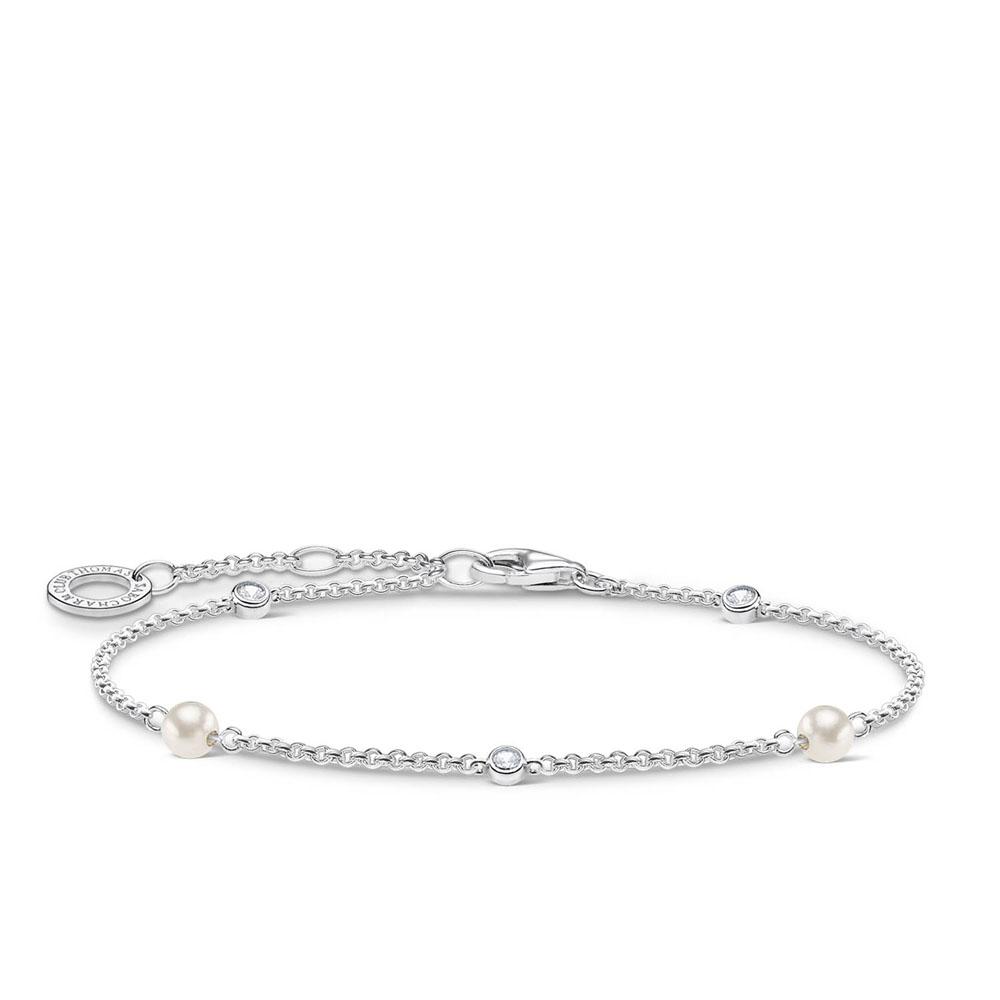 Sterling Silver Thomas Sabo Charm Club Pearl Bracelet 16-19cm