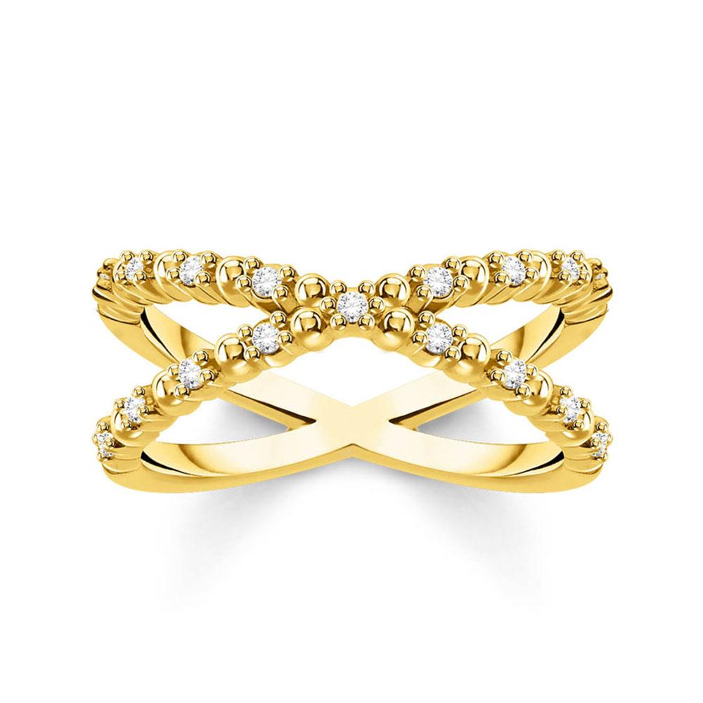 Gold Plated Sterling Silver Thomas Sabo Charm Club Zirconia Cross Ring