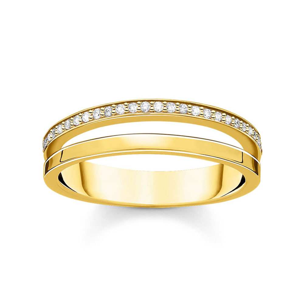 Gold Plated Sterling Silver Thomas Sabo Charm Club Zircinia Double Band Ring