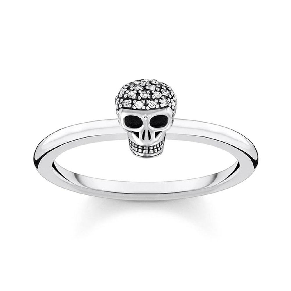Sterling Silver thomas Sabo Charm Club Mini Skull Zirconia Ring