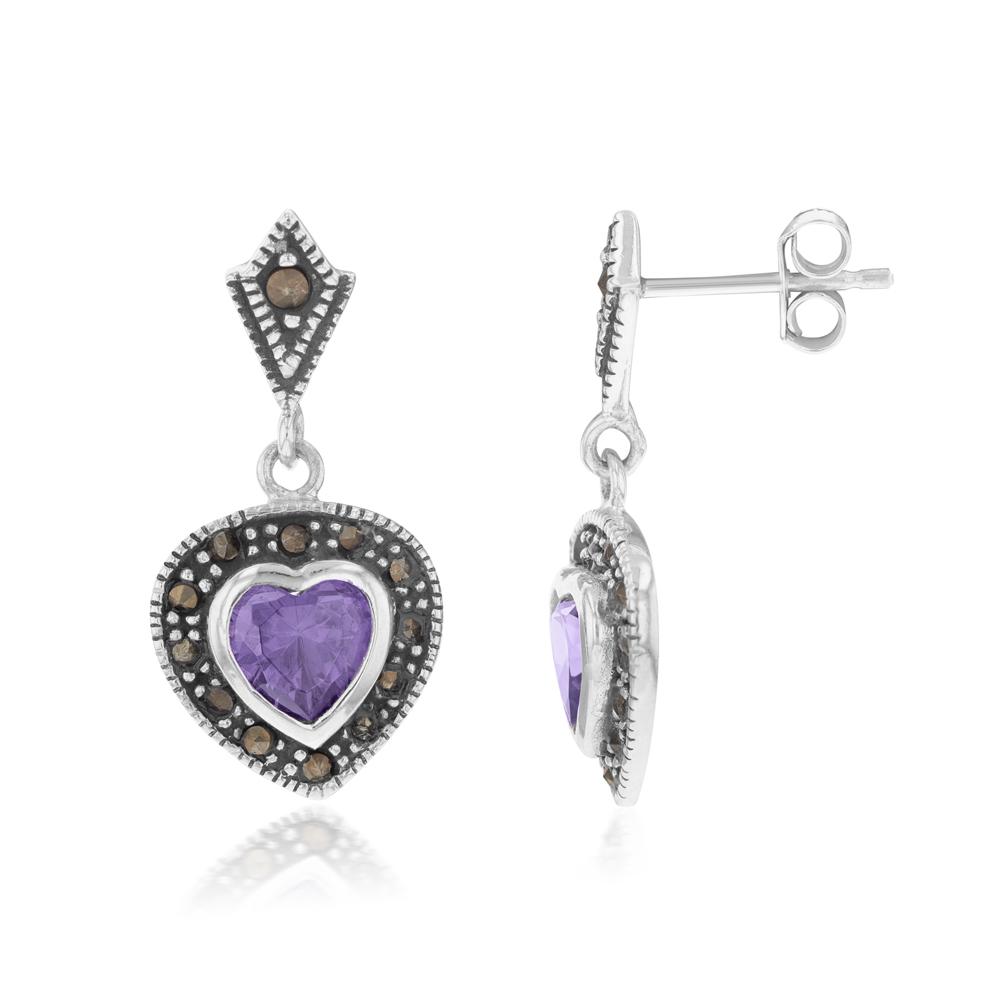 Sterling Silver Purple Zirconia Marcasite Heart Drop Earrings