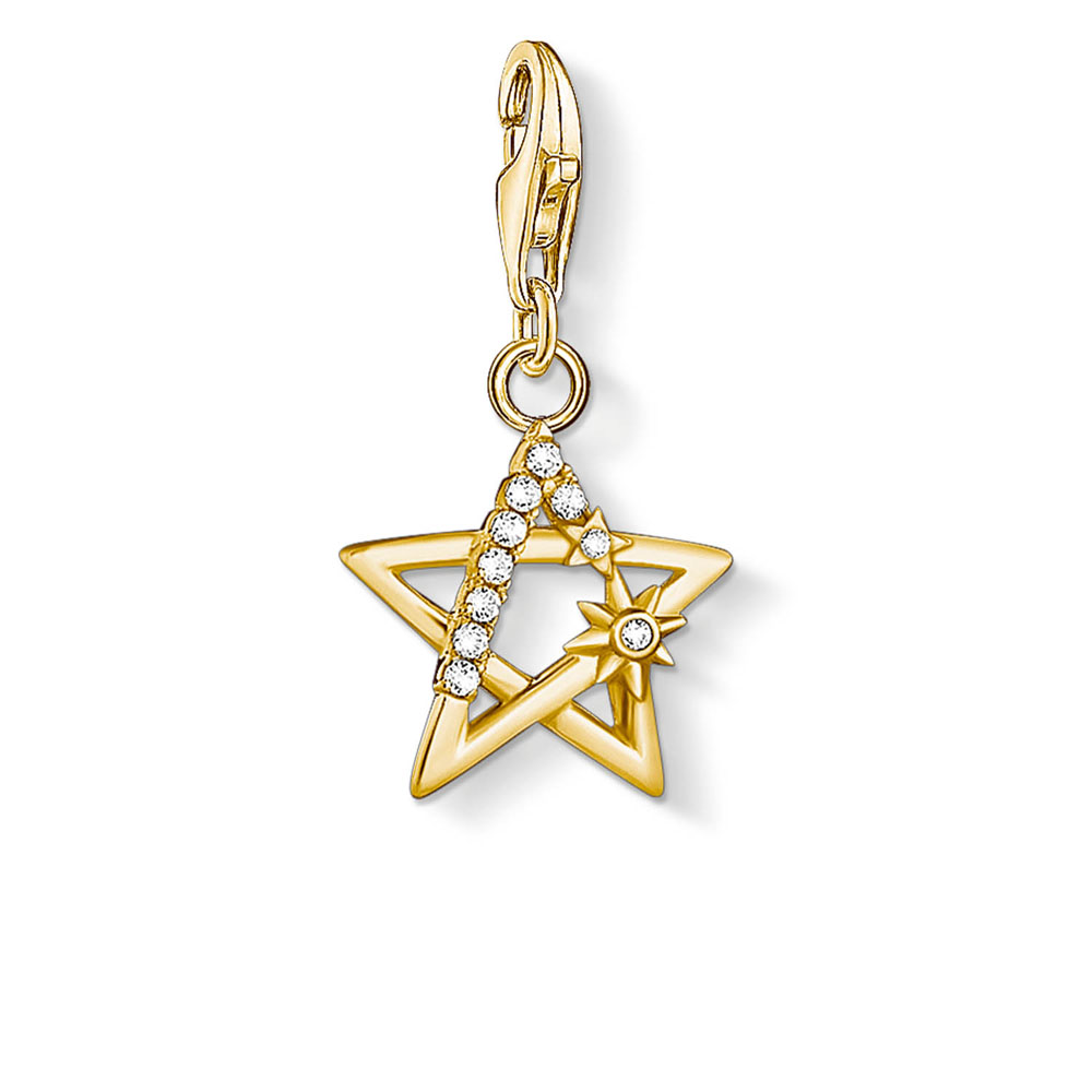 Gold Plated Sterling Silver Thomas Sabo Charm Club Zirconia Magic Star Charm