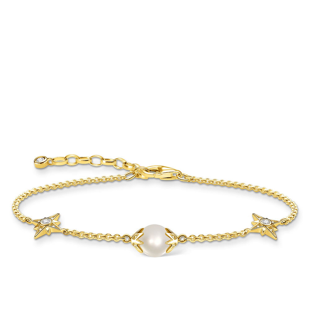 Gold Plated Sterling Silver Thomas Sabo Magoc Star Fresh Water Pearl Bracelet 16-19cm
