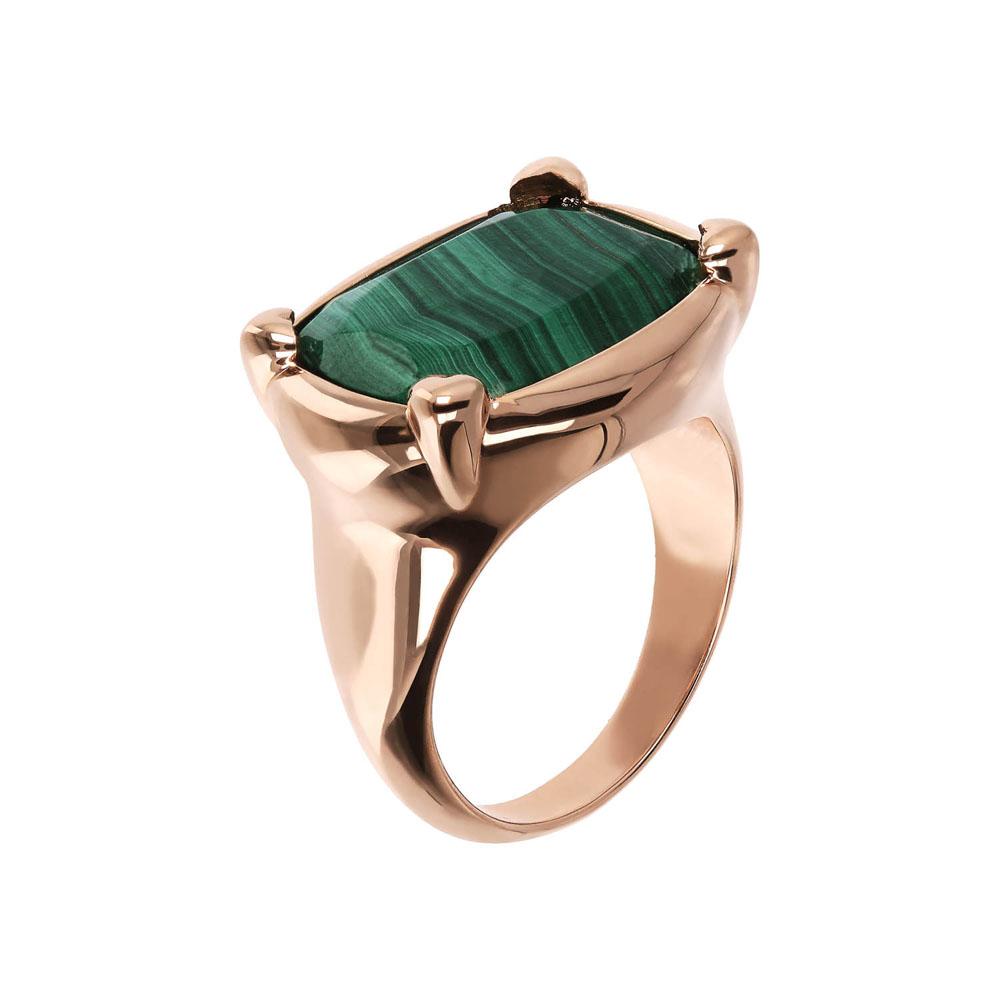 Bronzallure Rose Gold Plated Incanto Green Malachite Ring - No Resize