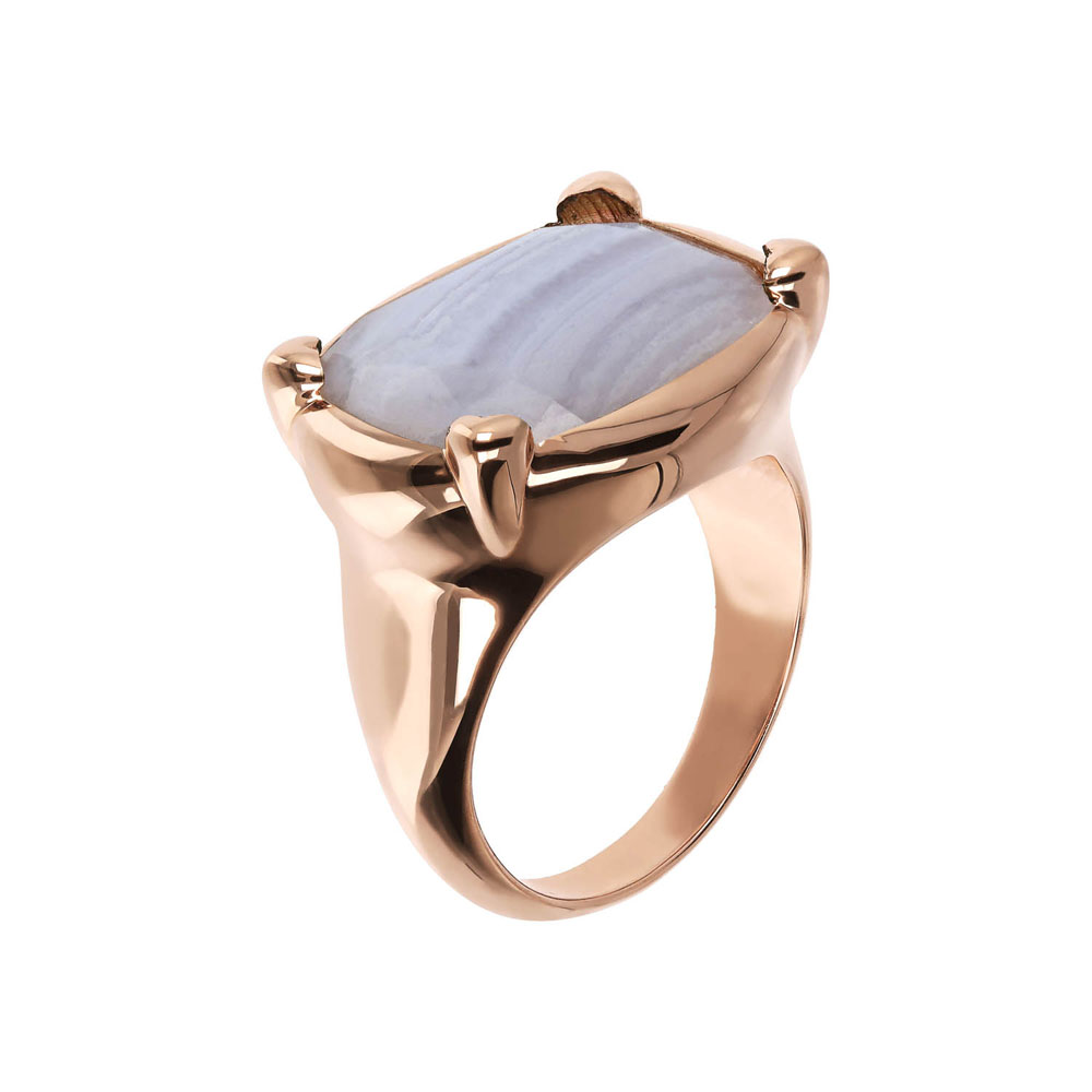 Bronzallure Rose Gold Plated Incanto Blue Lace Agate Ring - No Resize