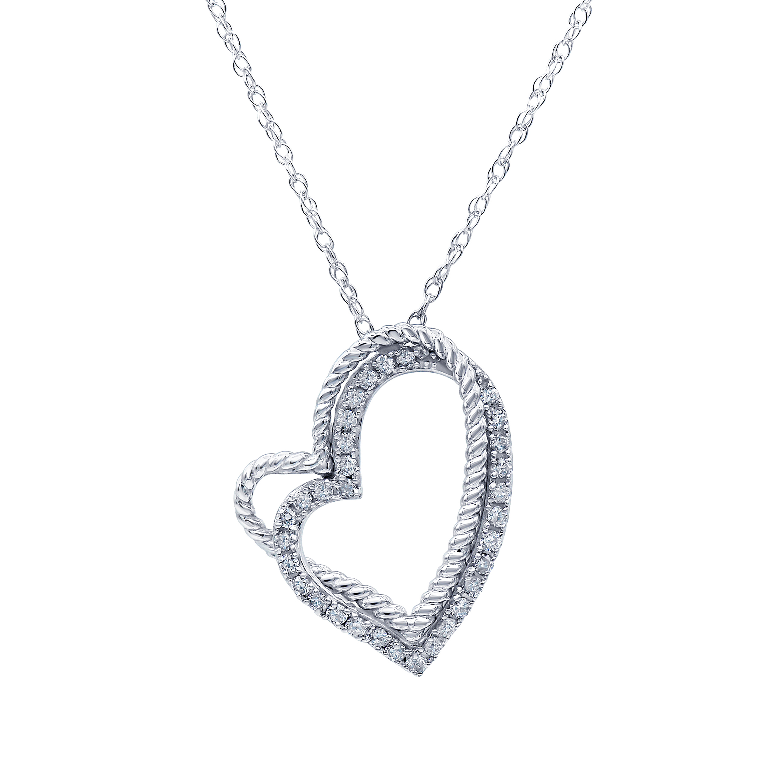 Luminesce Lab Grown Diamond 1/3 Carat Silver Double Heart Pendant on 45cm Chain