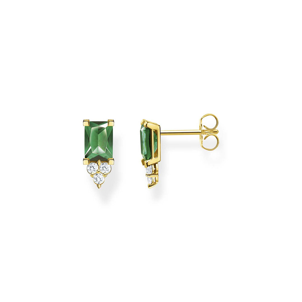 Thomas Saboo Gold Plated Sterling Silver Magic Stone Green Stud Earrings