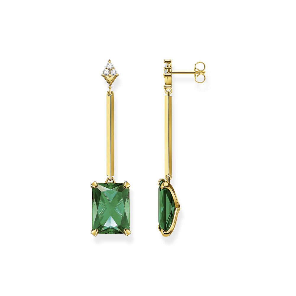 Thomas Saboo Gold Plated Sterling Silver Magic Stone Green Drop Earrings
