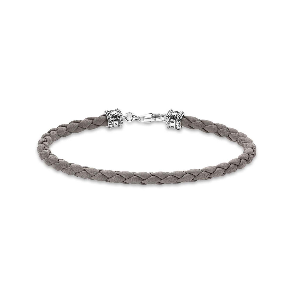 Thomas Saboo Sterling Silver Rebel Grey Braided Leather 17cm Bracelet