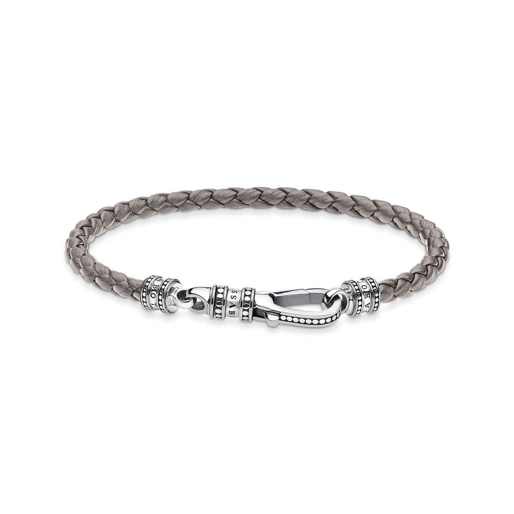 Thomas Saboo Sterling Silver Rebel Grey Braided Lea Clasp 17cm Bracelet