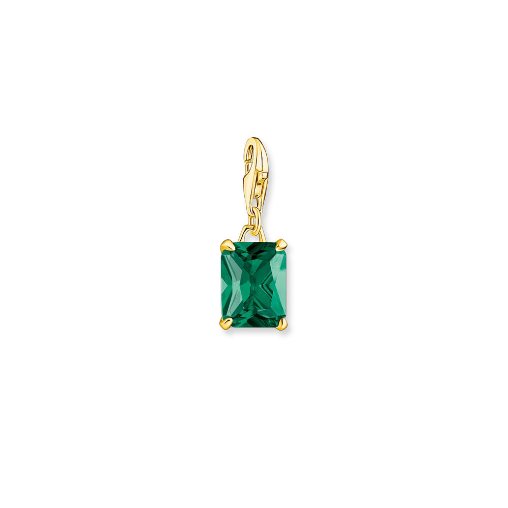 Thomas Saboo Gold Plated Sterling Silver Emerald Glass Ceramic Small Jewel Pendant