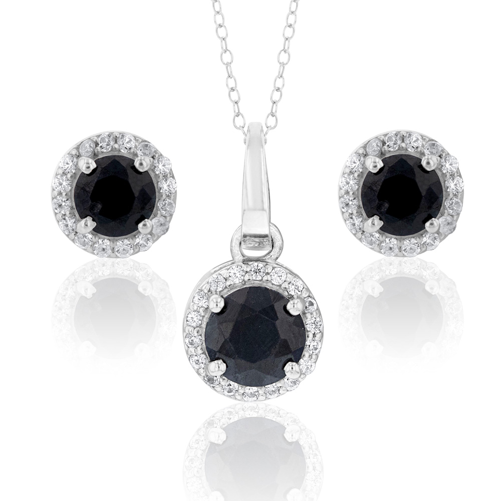 Sterling Silver Natural Enhanced Sapphire and White Zircon Set on Chain